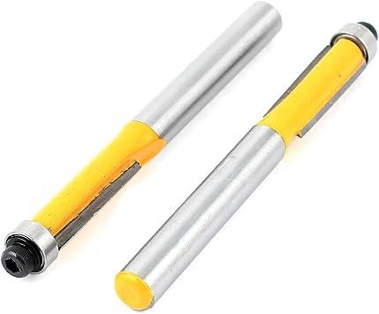 6mm and 1//4 Shank 2pcs Cutting Bearing Extra Long Flush Trim Router Bit