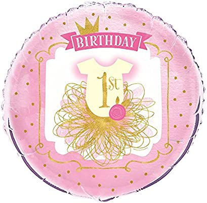 Unique Party- Globo Foil: Primer Cumpleaños para Niña, Color pink & gold, 45 cm (58167)
