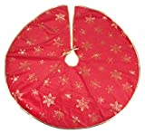 """Red and Gold Snowflake Christmas Tree Skirt by Clever Creations 