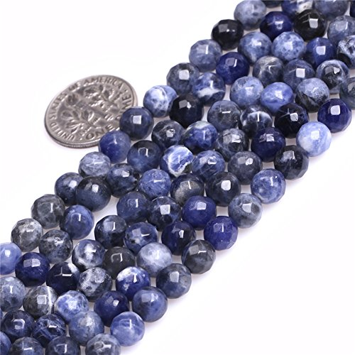 Sodalite Beads for Jewelry Making Natural Gemstone Semi Precious 6mm Round Faceted 15