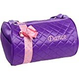 Silver Lilly Girls Dance Bag - Quilted Duffle Bag w/ Bow (Lavender)