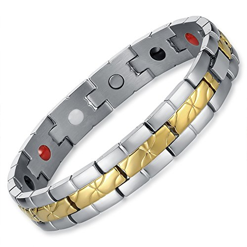 chaninely Magnetic Bracelet Stainless Steel Energy Link Chain with Magnets for Men Arthritis 8.9