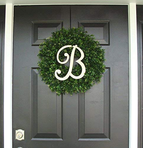 Elegant Holidays Handmade Thin Artificial Boxwood Wreath with Monogram, Welcome Guests -Decorative Front Door- for Outdoor, Storm Doors, Indoor Home Wall Décor, All Seasons & Holidays Sizes 16-24 inch