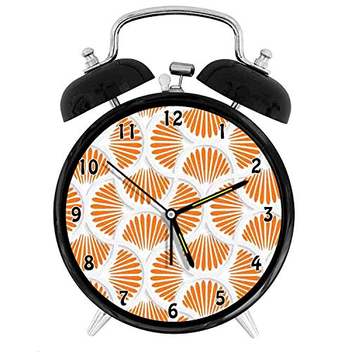 Happy-zhjX Retro Style Twin Bell Alarm Clock with nightlight,4in,Black Number Decoration-3D Style Grid with Rays Geometric and Floral Design Wavy Lines Tile,for Home and Office.