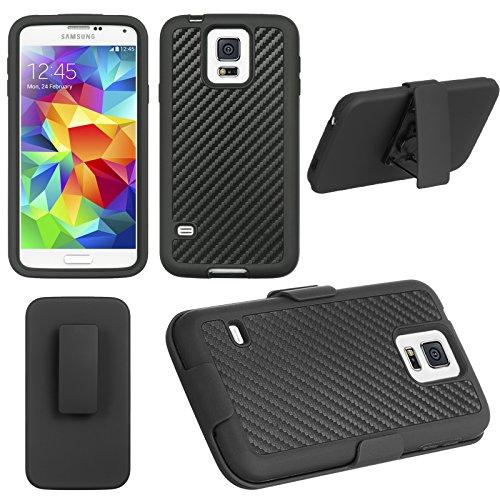 Black Carbon Fiber Shel-Tak Holster Combo For Samsung Galaxy S5