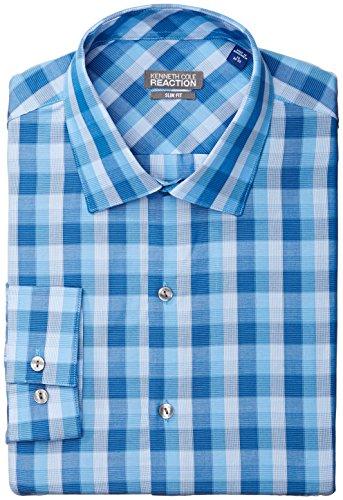 Kenneth Cole Reaction Men's Slim Fit Graphic Check, Blue/Multi, 16 32/33