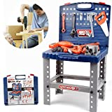 Toy Tool Workbench for Kids Pretend Play - Construction Workshop Toolbench STEM Building Toys with Realistic Tools and Electric Drill