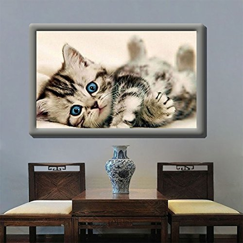 Ocamo Stylish Cat Diamond Embroidery 5D Cross Stitch Painting by Ocamo