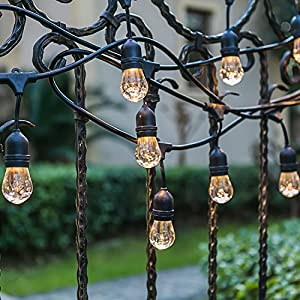 Generalight Advanced Weatherproof-Indoor/Outdoor LED String Lights-Street & Area Commercial Grade Lighting-48 Feet-15 S14 Style Clear Acrylic LED Blubs-Heavy Duty-Black-UL Listed
