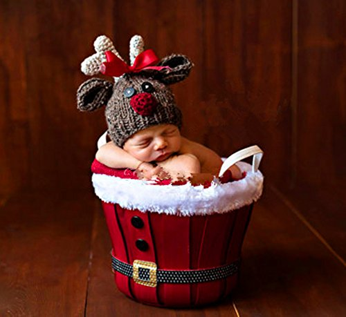 Pinbo Newborn Baby Girls Photography Prop Crochet Knitted Costume Deer Hat (Christmas Costumes Baby)