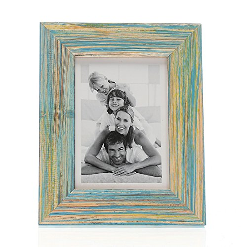 4x6 Inch Solid Wood Desktop Picture Frame with Glass Front (4x6 Blue) (Pretty Pictures)