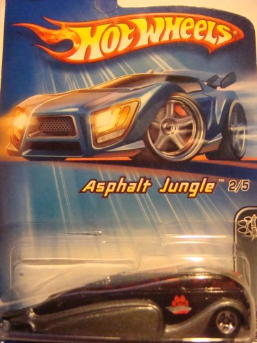 Hot Wheels Low Flow Black'n Gray Red Glass 5 spoke Asphalt Jungle Series 1/64 2005 #82