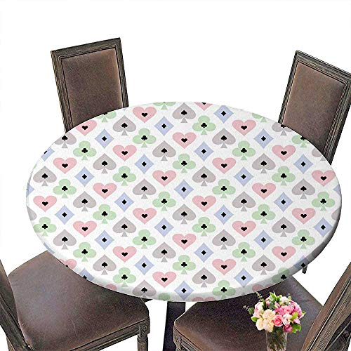 PINAFORE Premium Tablecloth Seamless Poker with Transparent Effect on Cards Symbols Everyday Use 63