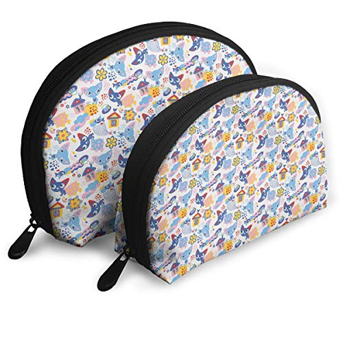 Shell Shape Makeup Bag Set Portable Purse Travel Cosmetic Pouch,Cats And Fishes With Love Smiling Kitty Comic Toys Games For Girls Clouds Cartoon,Women Toiletry Clutch