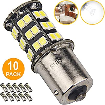1156 1141 1003 7506 BA15S LED Bulbs White 10-Packs, Super Bright 45-SMD LED Replacement 12 Volt RV Camper Trailer Boat Trunk Interior Lights: Automotive