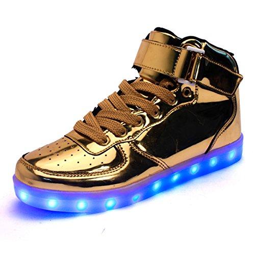Uomo Sneakers Running Adulto Oro LED Le Accendono Unisex Luminosi Scarpe con DoGeek Luci Scarpe SY5w6x