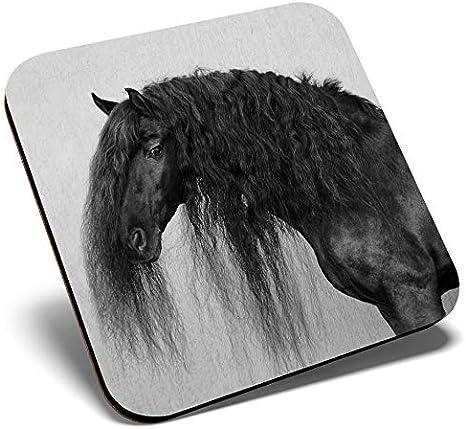 Gran posavasos cuadrado BW – Caballos Friesianos de caballos poni | Posavasos de calidad brillante | Protección de mesa para cualquier tipo de mesa #41931