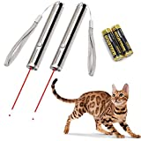 2 Pack Interactive Cat Chaser Toys, Dog Puppy Kitten Pet Cat Catch the LED Light, Cat Exercise Toys and Training Tools, Focused Red Dot and Normal Flashlight in One, 2 Durable AA Batteries Included