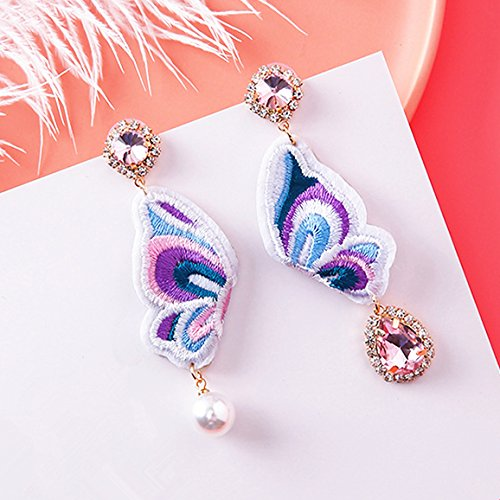 (High-Season 2017 Elegant Embroidery Butterfly Charm Earrings For Women Brincos Pink Rhinestone Simulated Pearl Pendientes Trendy Earring)