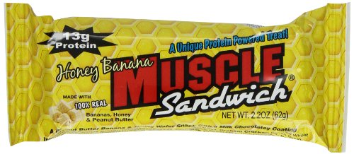 Muscle Foods Muscle Sandwich Bar, Peanut Butter Honey Banana, 62 Gram, 12 Count ()