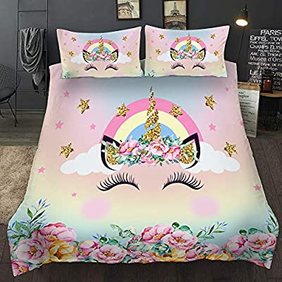 Home4Joys Rainbow Flowers Cute Unicorn Bedding Sets Pillows Case with Duvet Cover, Comforter Cover Set Twin Size 3PCS, Blue Pink (No Comforter Inside): Home & Kitchen