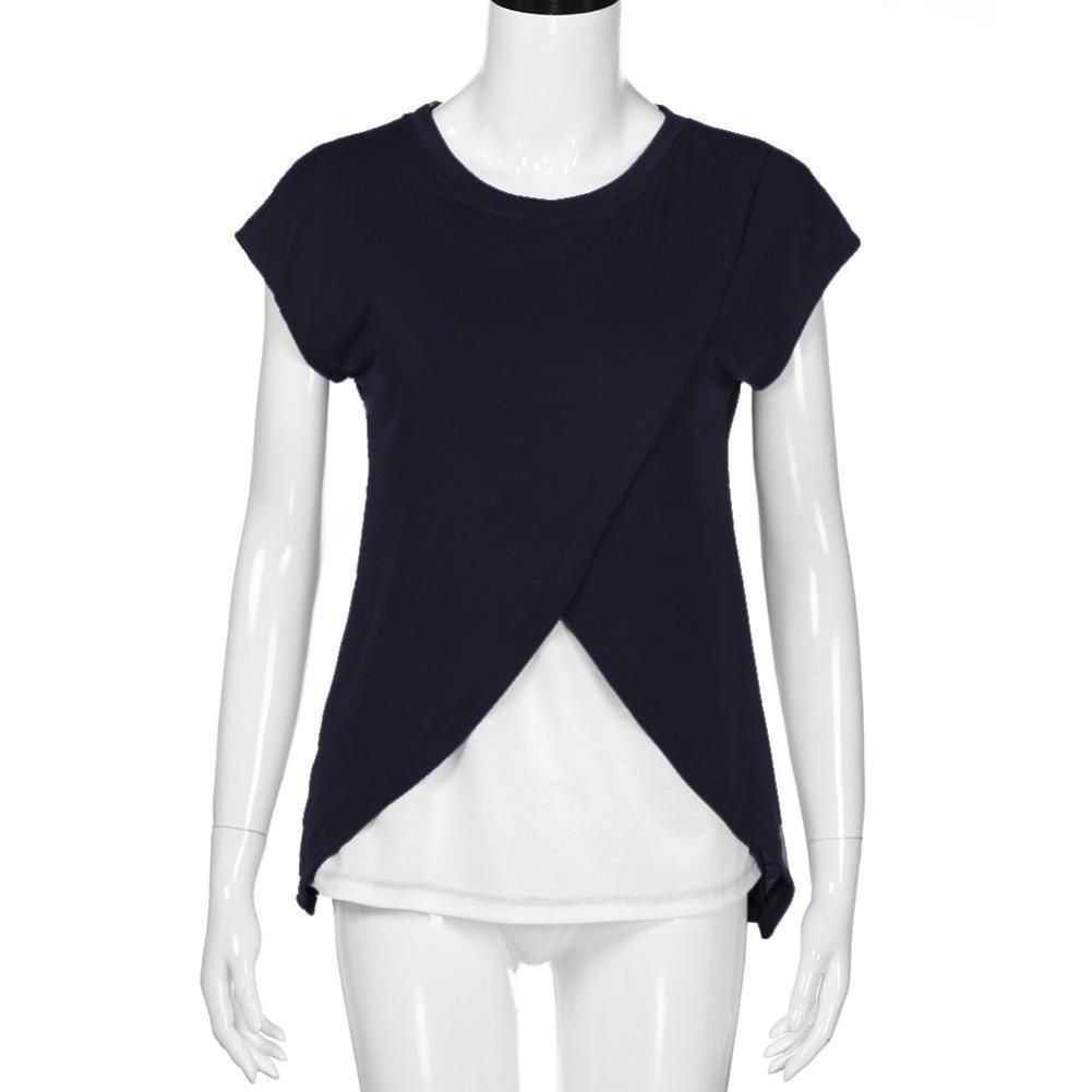 67f2b633d Venmo Camiseta para Mujer Top Cruzado Diseño de Capa Premamá y de Lactancia