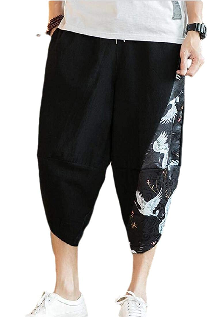heymoney Men/'s Loose Baggy Linen Harem Capri Pants with Pockets