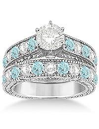 Antique Diamond and Aquamarine Bridal Gemstone Wedding Ring Set Hypoallergenic Palladium (3.12ct)