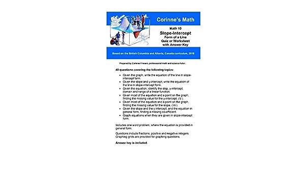 Math 10: Slope-Intercept form of a Line, Quiz or Worksheet ...