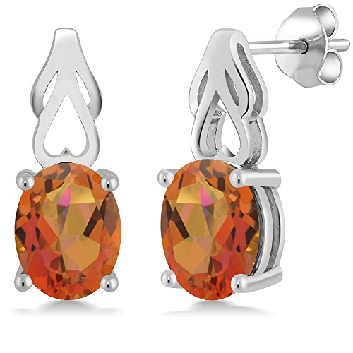 Mm Rose Quartz Necklace - 3.60 Ct Oval Twilight Orange Mystic Quartz 925 Sterling Silver Earrings