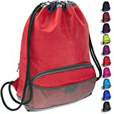 ButterFox Waterproof Fabric Drawstring Swim PE Gym Sports Bag Bookbag Sackpack Backpack for Kids, Girls, Boys, Men and Women - Red