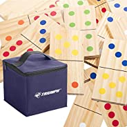 Triumph 28-Piece Wood Lawn Outdoor Large-Format Domino Set Includes Storage Carry Bag