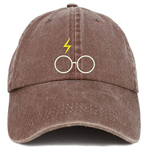Trendy Apparel Shop Harry Glasses Embroidered Washed Cotton Adjustable Cap - Chocolate
