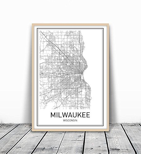 Milwaukee Poster, Map of Milwaukee, Milwaukee Map, City Map Posters, Modern Map Art, City
