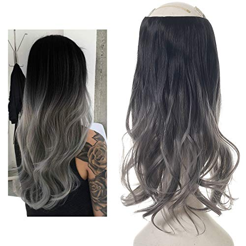 Short Black Ombre Hair Extensions Halo Wire Sercet Crown Synthetic Grey Wavy Curly Hairpieces For Women Invisible Auburn Burgundy Heat Resistant Fiber 14 3.8oz SARLA