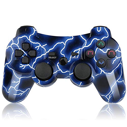 (PS3 Controller Wireless Double Shock Bluetooth DS3 Joystick Gaming Controller for Playstation 3 with Charger Cord)