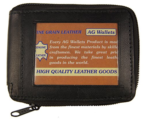 Genuine Leather Bifold Zip Around Outside Id Wallets Black By Ag Wallets