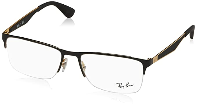 c3ab08fe35 Image Unavailable. Image not available for. Colour  Ray-Ban Half Rim  Rectangular Men s Spectacle Frame ...
