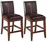 Ashley Furniture Signature Design - Larchmont Barstool Set - Counter Height - Upholstered - Vintage Casual - Set of 2 - Burnished Dark Brown
