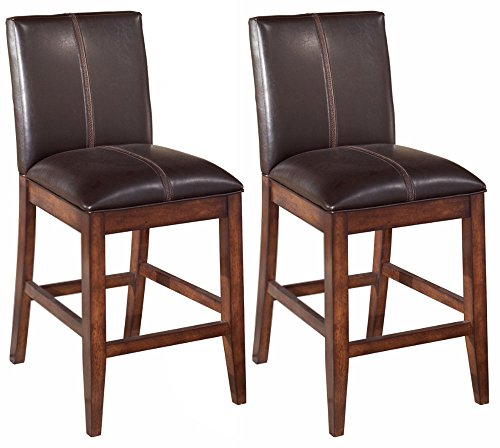 Ashley Furniture Signature Design - Larchmont Barstool Set - Counter Height - Upholstered - Vintage Casual - Set of 2 - Burnished Dark - Stool Counter Upholstered Height