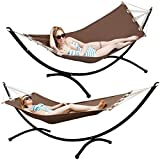 Hammock with Arc Stand | Complete Set | Brown Cotton Hammock with a Sturdy Black Steel Frame | Lying Surface ca 190x80cm | Load Bearing Capacity 120 KG