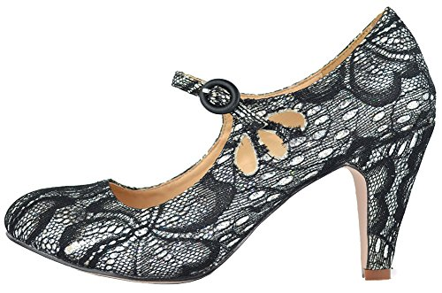 Pierced Mary Kimmy Toe Style Pumps Lace Chase Mid Round Chloe amp; Silver Women's Heel 21 Jane Dress q4Af40