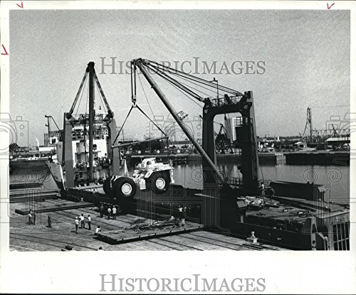 Dump Truck Coal (Vintage Photos 1986 Press Photo Men Watching Coal Dump Trucks Being Loaded At A Dock in Texas.)