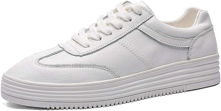 YIJIAN-SHOES Zapatillas Deportivas para Correr para Hombre, cómodas, de Piel, con Cordones en la Parte Superior y Puntera Redonda, Blanco, 8 UK: Amazon.es: Hogar