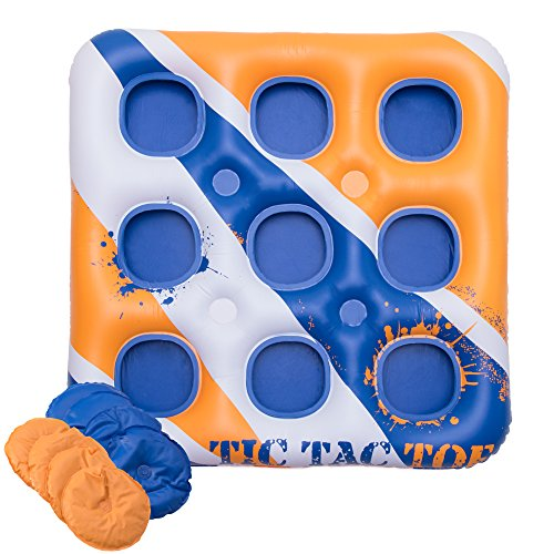 Inflatable, Giant Tic Tac Toe Board Game - Outdoor, Pool Party Water Accessories - Yard, Lawn, Beach, and Lake Life Size Drinking Games - Multi Person Floats for Pools - XL Rafts for Adults and Kids ()
