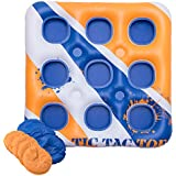 Inflatable, Giant Tic Tac Toe Board Game - Outdoor, Pool Party Water Accessories - Yard, Lawn, Beach, and Lake Life Size Drinking Games - Multi Person Floats for Pools - XL Rafts for Adults and Kids