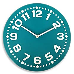 Silent wood wall clock with large numbers (Deep Teal)