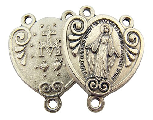 Centerpiece Miraculous Medal Rosary (Zinc Alloy Decorative Style Miraculous Medal Rosary Centerpiece, 1 1/8 Inch (Silver Toned Base))