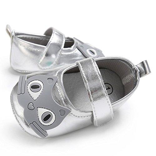 BOBORA Bebe Princesa Zapatos De Nino Lindo Gatito plata