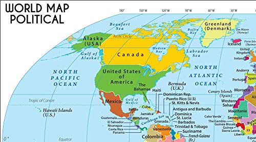 Amazon.com : World Map in Robinson Projection (36\